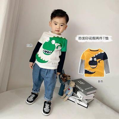 韩版卡通儿童T恤长袖纯棉宝宝上衣2021春秋新款童装男童打底衫潮