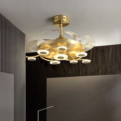 2021LED爆款全铜灯风扇灯客厅灯卧室灯家用高档大厅吊灯房间吊灯