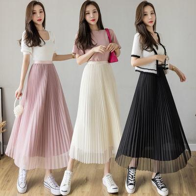2021春夏季新款半身裙显瘦垂感中长款纱裙高腰网纱百褶裙女长裙子