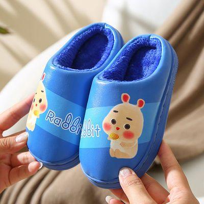儿童棉拖鞋冬季新款宝宝皮质卡通男女童亲子可爱家居防滑保暖防水