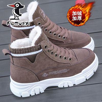 PLOVER啄木鸟鞋子女2021冬季新款高帮棉鞋女学生韩版加绒马丁短靴