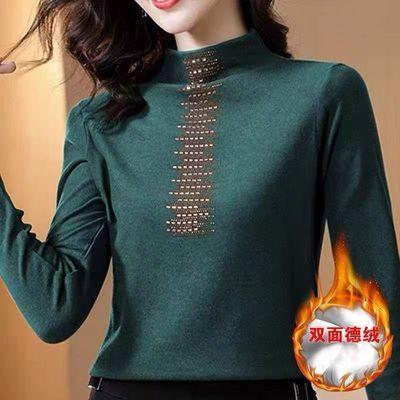 100%品质 双面德绒半高领镶钻打底衫女2021秋冬季保暖长袖T恤上衣