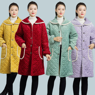 冬季成人加厚加绒夹棉保暖罩衣中长款工作服男女围裙水晶绒罩褂