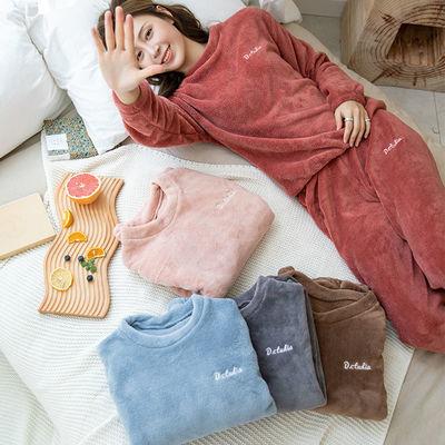 秋冬季新款珊瑚绒睡衣女加厚加绒法兰绒可爱仙女暖暖裤家居服套装