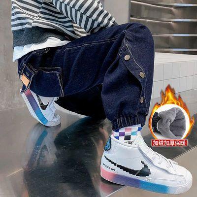男童加绒牛仔裤2021秋冬新款外穿弹力软牛仔儿童一体绒中大童休闲