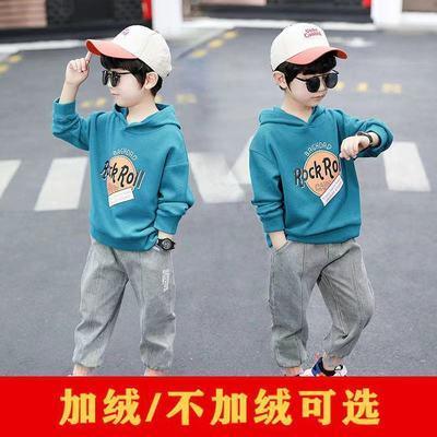 儿童装男童冬装卫衣新款中大童男孩秋冬季连帽加绒加厚上衣潮流