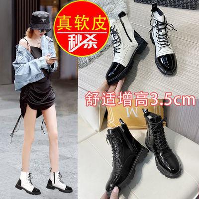 马丁靴女中筒短靴内增高2021秋冬季新款前系带侧拉链休闲百搭靴子