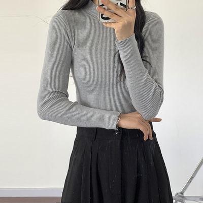 93012/灰色毛衣女秋季修身显瘦韩版半高领内搭薄款针织衫打底上衣外穿潮