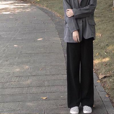 阔腿裤子女百搭潮流宽松秋季垂感显瘦矮个子vibe风西装裤直筒长裤