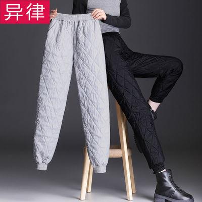 新羽绒棉裤女休闲加厚加绒秋冬季高腰大码外穿轻薄学生保暖哈伦裤
