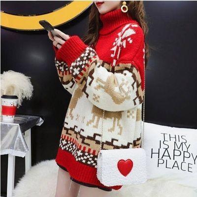 2021秋冬韩版新款高领宽松套头圣诞雪花麋鹿慵懒风学生加厚毛衣女
