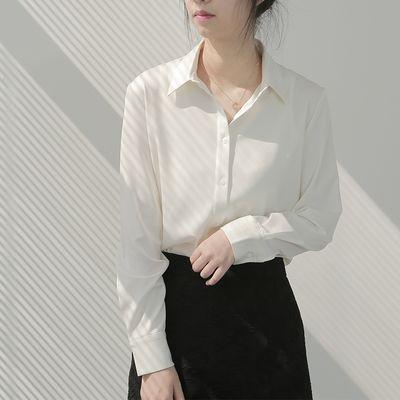 JACOOBS缎面白衬衫女设计感小众轻熟小个子丝滑复古港味垂