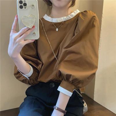 93178/泡泡袖衬衫女复古法式秋季2021新款设计感拼色系带气质长袖上衣服