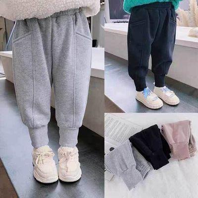儿童运动裤2021秋冬新款男女童加厚休息长裤中大童宽松卫裤潮
