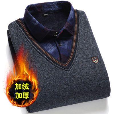 加绒加厚冬季针织上衣新款中老年套头毛衣男士衬衫领假两件打底衫