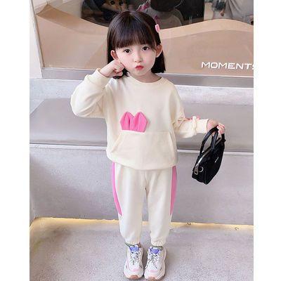 女童套装春秋季2021年新款儿童大蝴蝶结卫衣两件套洋气女宝宝秋装