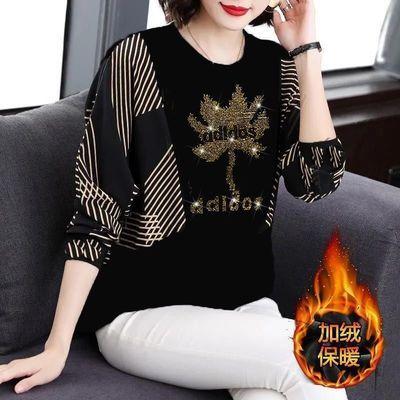 长袖t恤女2021新款韩版秋装中年妈妈宽松遮肚小衫大码上衣洋气潮