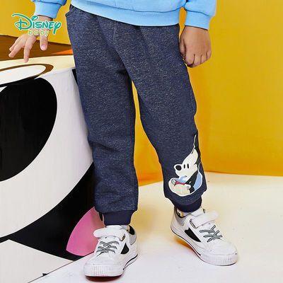 迪士尼童装 男童裤子儿童春秋宝宝2021新款长裤抓绒束脚仿牛仔裤
