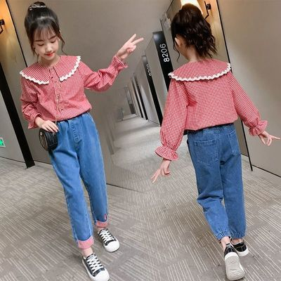 女童秋冬装2021新款时尚中大童超洋气花边各自衬衫小女孩外套