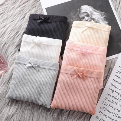 五条装女士内裤女学生韩版螺纹中腰少女性感可爱大码裤头