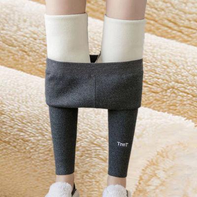 冬季加绒加厚新款竖条打底裤女外穿长裤大码紧身弹力高腰一体裤