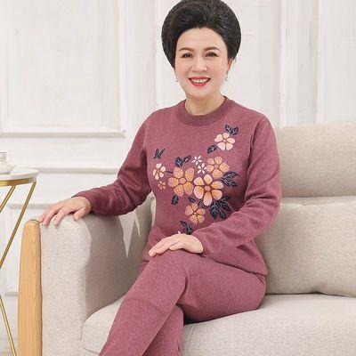93376/妈妈保暖内衣套装加绒加厚中年妇女式50老人60岁冬季纯棉洋气防寒
