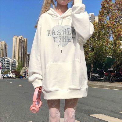 连帽卫衣女秋冬2021新款韩版ins卡通百搭宽松薄款学生上衣外套潮