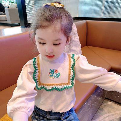 女童上衣2021新款儿童洋气秋装长袖T恤宝宝百搭半高领花边打底衫