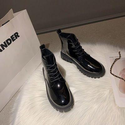 软皮马丁靴春秋单靴新款瘦瘦靴短靴子女学生韩版百搭短筒圆头厚底