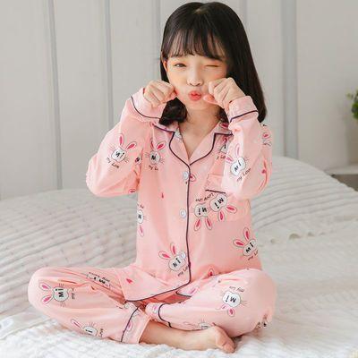 童睡衣春秋季长袖男女童公主风卡通小宝宝套装中大童开衫家居服