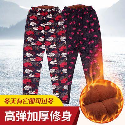 中老年棉裤女东北外穿驼绒加厚护腰妈妈老年人保暖棉裤打底花长裤