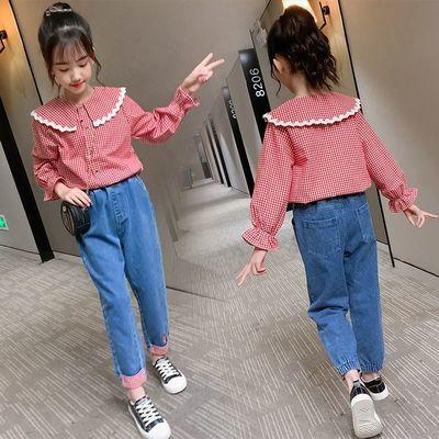 女童衬衣长袖洋气小童宝宝格子衬衫儿童开衫外套棉长袖春秋