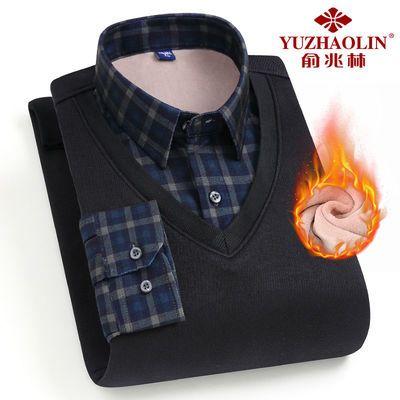 俞兆林冬季男士加绒衬衫保暖加厚针织衫假两件休闲条纹套头毛衣男