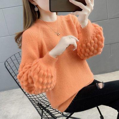 泡泡袖毛衣女宽松外穿秋冬2021年新款针织衫套头慵懒风圆领打底衫