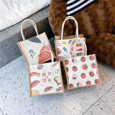 日系帆布包女包2021新款潮简约百搭印花便当手提包少女上班小布包