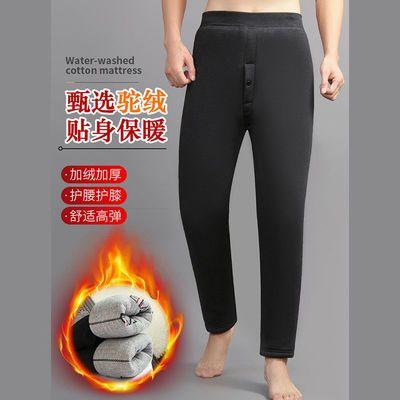 冬季新款男棉裤加绒加厚保暖裤打底高腰线裤加肥加大护腰护膝绒裤