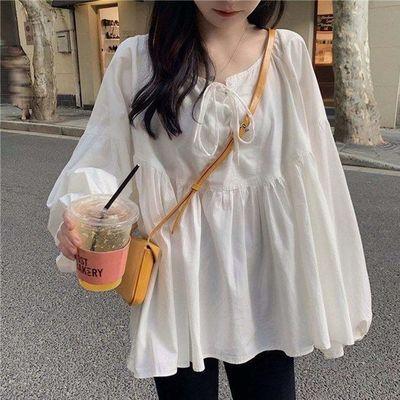 93095/白色长袖衬衫女秋2021新款韩版宽松绑带泡泡袖娃娃衫衬衣上衣