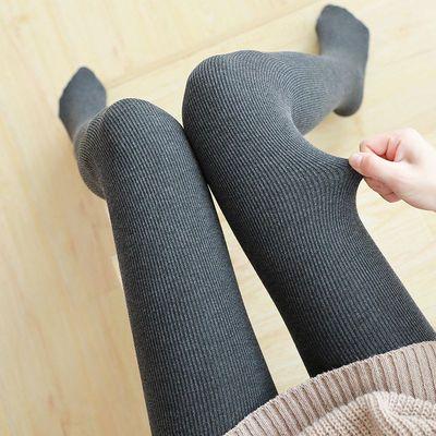 秋冬新款螺纹竖条打底裤女外穿薄款灰色秋裤女加绒加厚连裤袜棉裤
