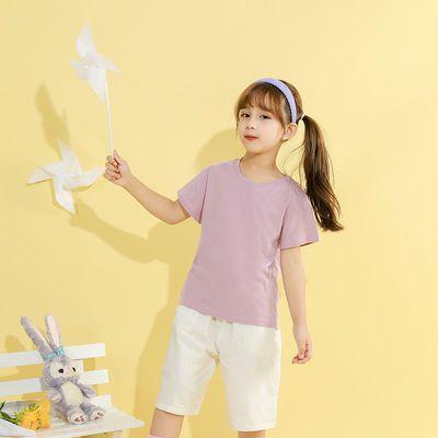 中大童短袖T恤纯棉2021夏新款男童洋气纯色打底衫潮上衣女孩半袖t