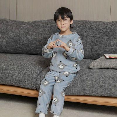 1-13岁儿童法兰绒睡衣男童女童秋冬季家居服加厚款宝宝珊瑚绒套装