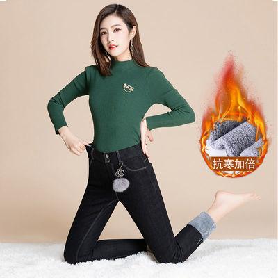 90753/2021新款黑色高腰牛仔裤女秋冬季显瘦长裤加绒加厚弹力修身小脚裤