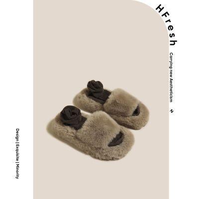 92457/HFresh毛毛绒外穿拖鞋棉拖鞋子2021年秋季新款网红厚底懒人一字拖
