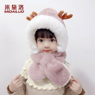 89772/米黛洛儿童帽子围脖一体帽秋冬季连帽男女童连体宝宝保暖小熊围巾