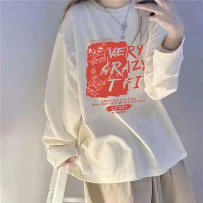 88965/长袖t恤女甜酷设计感小众宽松韩版秋冬秋上衣服ins潮系内搭打底衫