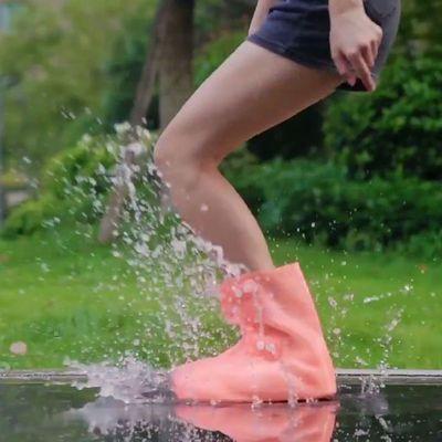 91077/雨鞋防雨防水雨靴防滑加高加厚耐磨硅胶学生男女易洗中高筒水鞋套