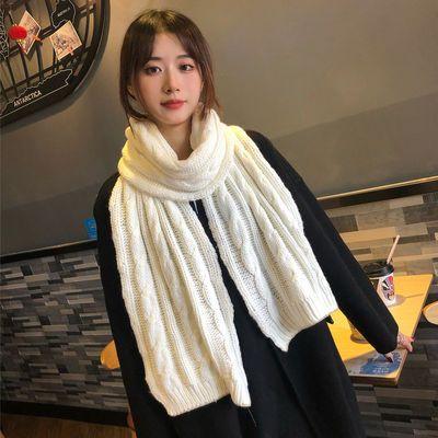 韩版纯色针织毛线围巾女冬季加厚保暖学生两用围脖男百搭披肩潮冬