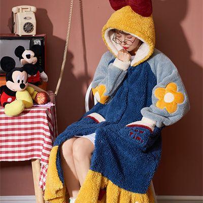 93367/白雪公主睡衣女秋冬法兰绒中长款睡袍套装加厚保暖冬天睡裙家居服