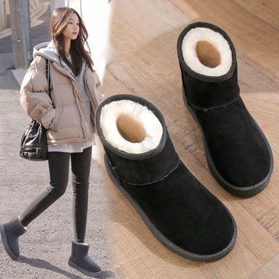 雪地靴女新款加绒2021年鞋子冬季棉鞋秋冬百搭皮毛一体雪地棉女潮