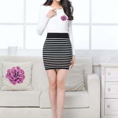 91261/黑白条纹针织包臀短裙半身裙弹力修身一步打底A字裙毛线裙子胖mm