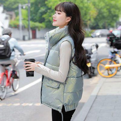 韩版亮面羽绒棉马甲女短款2021秋冬新款百搭洋气宽松时尚外穿坎肩